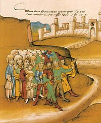 "First arrival of the Roma outside Berne in the 15th century, described by the chronicler as getoufte heiden (""baptized heathens"") and drawn with dark skin and wearing Saracen-style clothing and weapons (Spiezer Schilling, p. 749)."