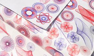 "Ballpoint pen artwork - Spirograph, originally marketed as a ""creative children's toy"" in the 1960s, provided colored ballpoint pens as part of its package."