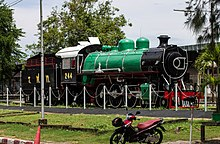 SRT No. 244 steam engine nearby Hat Yai Junction station.