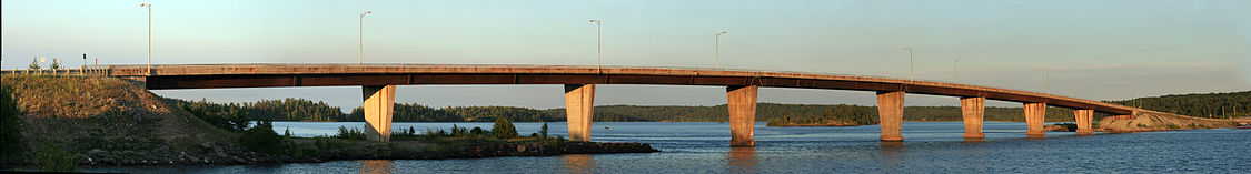 Panoramic View of St. Joseph Island Bridge that connects mainland and island