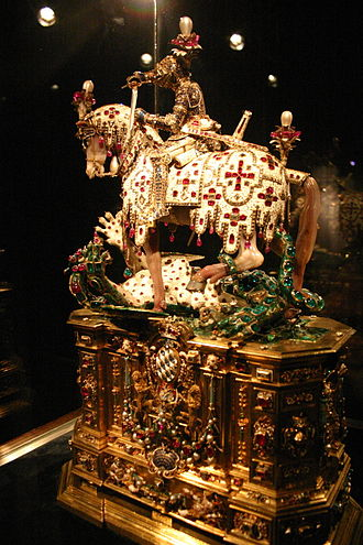 Royal Order of Saint George for the Defense of the Immaculate Conception - A Renaissance reliquary of St. George in the Treasury of the Munich Residenz is prominently displayed on the high altar of the Royal Chapel during ceremonies of the order.