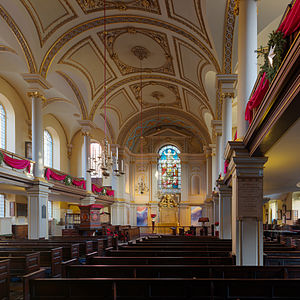 St Giles in the Fields - Looking down the aisle, inside the church