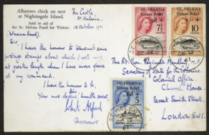 Foreign and Commonwealth Office Collection - Image: St Helena 1961 Tristan Relief Fund postcard