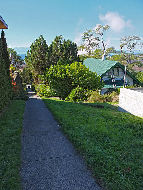 A walkways leads from the residential area of the Powell River Townsite down the the hill towards the Paper Mill.