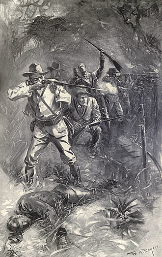"Battle of Las Guasimas - ""The Battle of Las Guasimas, June 24 - Theodore Roosevelt can be seen 2d from left of standing soldiers in this fanciful sketch of the 'Rough Riders'"" in Harper's Pictorial History of the War with Spain, 1899."