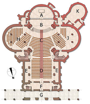 Stanford Memorial Church - A=Altar, B=Chancel, C=Crossing, D=Nave, E=Aisles, F=Vestibule, G=Arcade, H=East Transept with Transept Gallery above, J=West Transept/Side Chapel with Transept Gallery above, K=Round Room