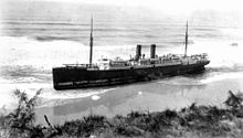 SS Maheno shipwrecked on the beach in 1935