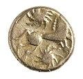 Stater van de Bellovaci in goud, 55 tot 50 VC, vindplaats- Vechmaal, Bornebeemden, collectie Gallo-Romeins Museum Tongeren, GRM 9248, 009.jpg