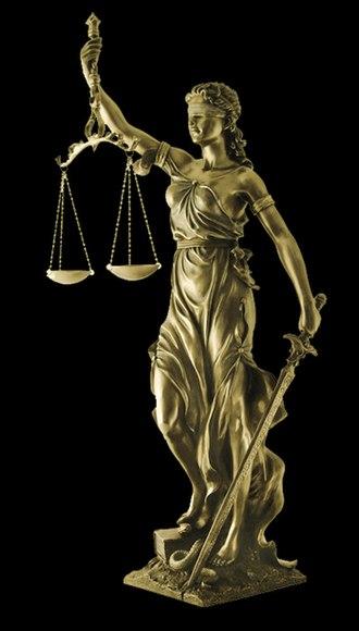 "Law - Iustitia (""Lady Justice"") is a symbolic personification of the coercive power of a tribunal: a sword representing state authority, scales representing an objective standard, and a blindfold indicating that justice should be impartial."