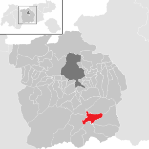Location of the municipality of Steinach am Brenner in the Innsbruck-Land district (clickable map)