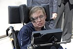 Stephen Hawking at Kennedy Space Center Shuttle Landing Facility KSC-07pd-0946.jpg