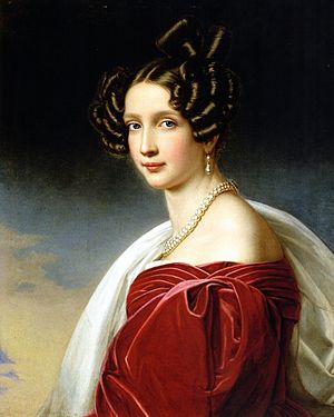 1830s in Western fashion - This portrait shows the pleated panels of fabric that trim the gown around the bust and shoulders, and the method of gathering fullness in the large sleeves. 1832.
