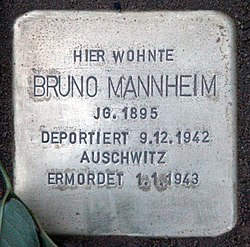 Photo of Bruno Mannheim brass plaque