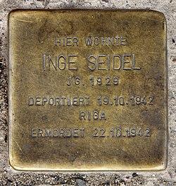 Photo of Inge Seidel brass plaque