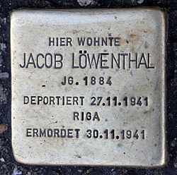 Photo of Jacob Löwenthal brass plaque