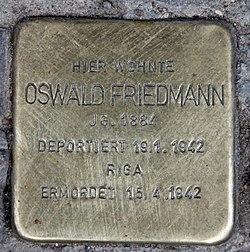Photo of Oswald Friedmann brass plaque