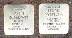 Photo of Herta Rechelmann brass plaque