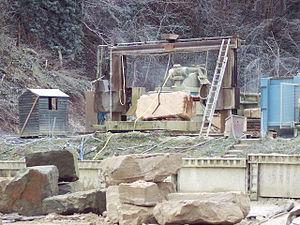 Chilmark Quarries - Stone being worked at Chilmark, 2007
