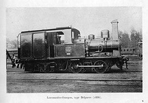 Capuchon (chimney) - Belgian steam locomotive of 1886, showing capuchon