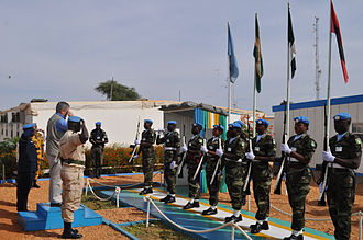 United Nations–African Union Mission in Darfur - A UNAMID Honor Guard greets SE Gration's arrival into the UNAMID compound in El Geneina, West Darfur, 19 November 2009.
