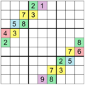 Sudoku Puzzle (an automorphic puzzle with 18 clues).png