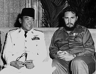 Castro and Indonesian president Sukarno in Havana, 1960. Castro undertook many foreign visits during his initial years in power. Sukarno and Fidel, 1960.jpg