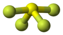 Ball-and-stick model of sulfur tetrafluoride