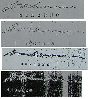 Supersemar - Signatures of Sukarno on the four versions