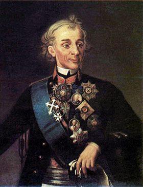 Aleksandar Suvorov na slici koju je izradio George Dawe, prikazan u uniformi Preobraženskog puka koju je nosio za vrijeme vladavine Pavla I.