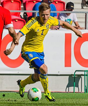 Mattias Johansson - Johansson playing for Sweden U21 in 2013