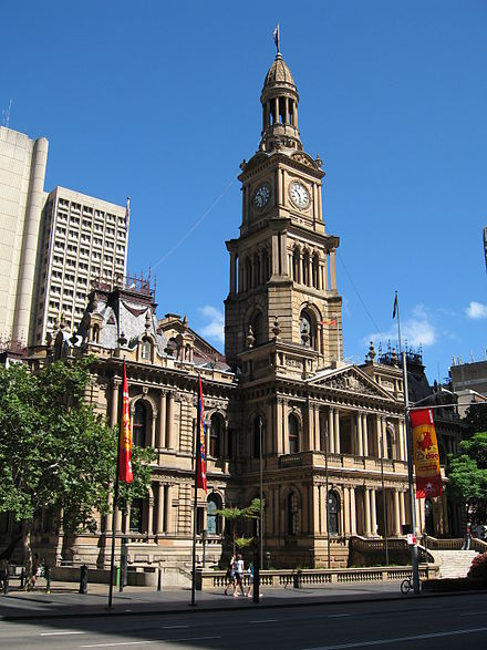 Offices of the City of Sydney council, a local government area within Sydney SydneyTownHall gobeirne.jpg
