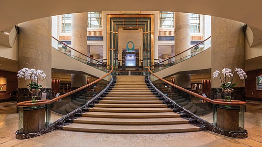Symmetric view of the staircase at The Fullerton Hotel Singapore
