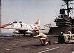 TA-4J Skyhawk VT-7 launching from USS Saratoga (CV-60) 1985.jpg
