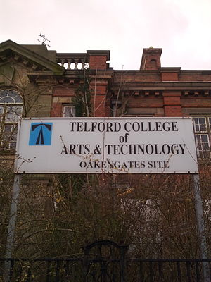 Telford College - The old Oakengates Site (now closed) on Hartsbridge Road in March 2010. The building has since been sold and converted into apartments.