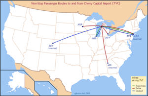 Cherry Capital Airport - Airlines and Destinations served from Traverse City (as of July 2013)