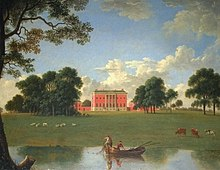 A painting of parkland with a boat on a lake in the foreground, and fields leading up to a red-brick house in the distance