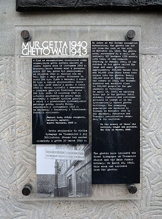 Warsaw Ghetto boundary markers - Plaque with historical information (Bielańska Street)