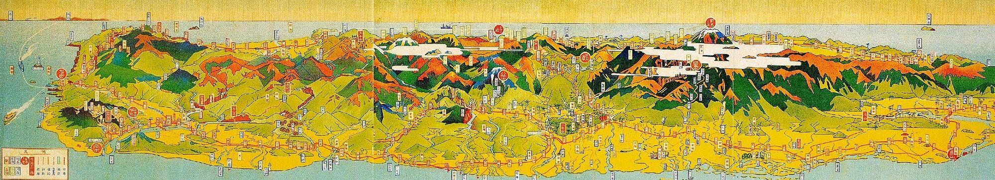 1928年,鐵道部於臺灣日日新報刊登的觀光地圖,上面標明臺灣鐵路沿線各大站及城鎮位置,並註記臺灣八景與十二名勝