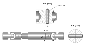 Taper pin - An example of tapered pin used to lock two shafts together.