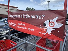 Target Circle cart corral banner at a Target store in Spring Hill, Florida in October 2019.