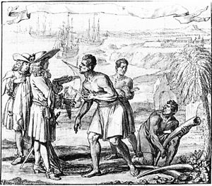 Illustration of European traders in coats, hats and wigs negotiating with African traders, with ships anchored in the background