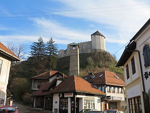 Tešanj - Castle as seen from the heart of Old town of Tešanj