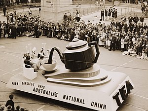 "1938 in Australia - ""Tea, Australia's national drink"" (float) from Sesquicentenary Manufacturers Parade, Sydney, 1938"