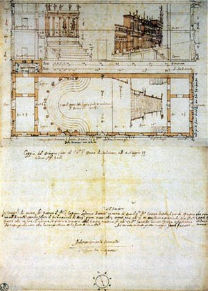 Teatro all'antica - Vincenzo Scamozzi's elevation (top) and floor plan (below) for the Teatro all'antica.