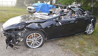 Tesla Autopilot - The model S after it was recovered from the crash scene