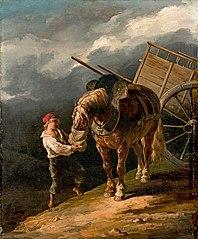 Garçon donnant l'avoine à un cheval dételé