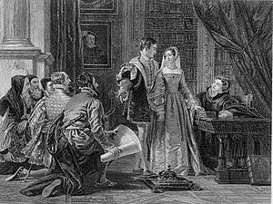Lady Jane Grey - The Crown Offered to Lady Jane Grey, as imagined in the 1820s: Guildford and Jane are in the centre