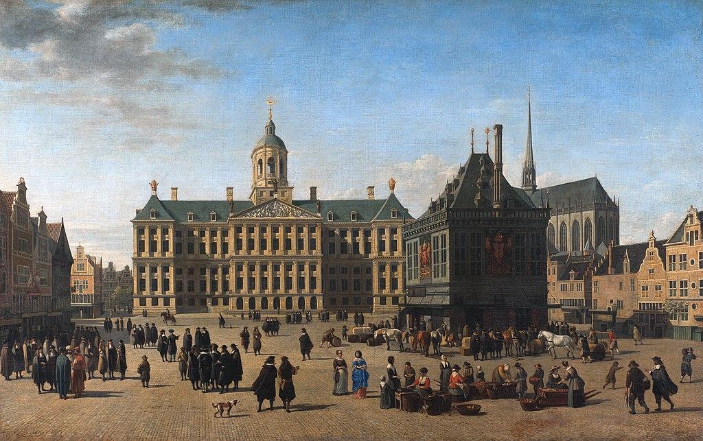 Balance publique à Amsterdam au premier plan du tableau de Gerrit Adriaensz. Berckheyde.