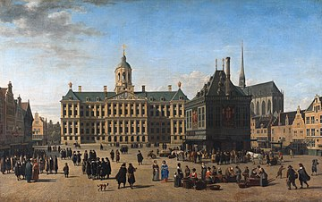The Dam Square in Amsterdam, by Gerrit Adriaensz Berckheyde, c. 1660. In the picture of the centre of highly cosmopolitan and tolerant Amsterdam, Muslim/Oriental figures (possibly Ottoman or Moroccan merchants) are shown negotiating. The 17th-century Dutch institutional innovations helped lay the foundations for modern-day international financial centres that now dominate the global financial system. The Dam in Amsterdam, by Gerrit Adriaensz Berckheyde.jpg