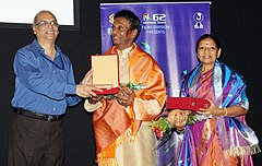 The Director General, Films Division, Shri Kuldeep Sinha felicitated Shri Raja and Radha, Kuchipudi Couple dancer, at the DANCING FEET Films on Classical Dances & Gurus, during the IFFI-2010, in Panjim, Goa.jpg